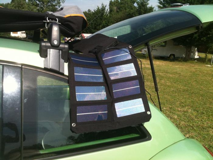 SolarSupra solar panel trickle charging a leisure battery