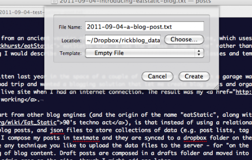 creating a new blog post in textmate
