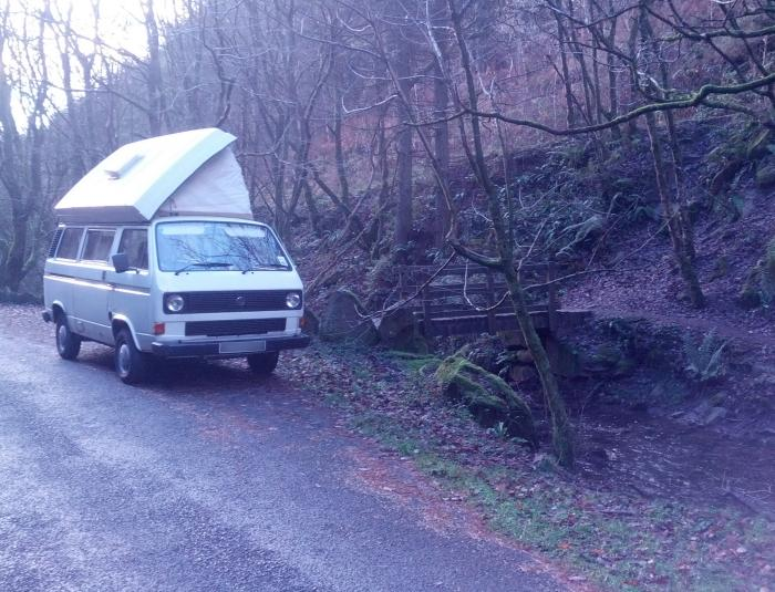 lunch in cwncarn forest in out vw camper