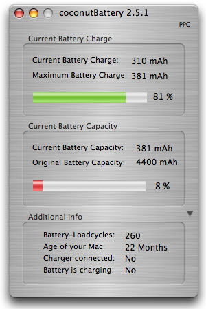 coconut battery app dialogue showing just 8% capacity