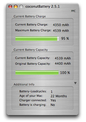 cocnut battery app showing high capacity