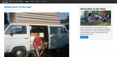 screen grab of Rick on the road blog - travelling, T25 camper van, mobile working