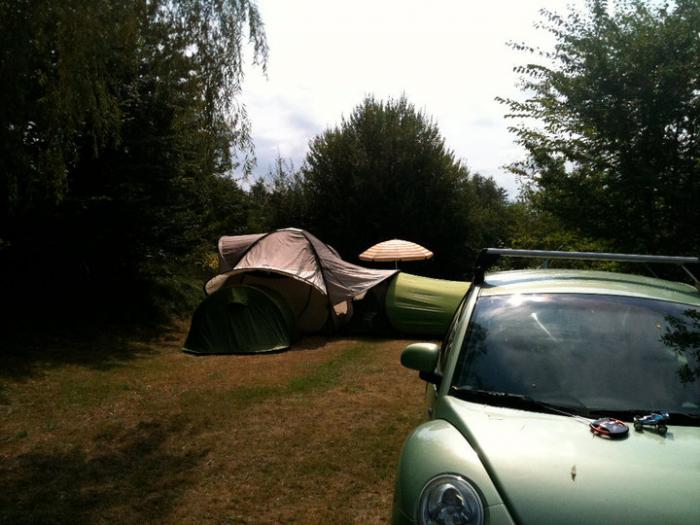 Camping with a new beetle and quechua pop-up tents