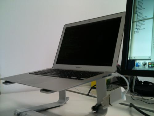 macbook air 13 on a griffin elevator stand