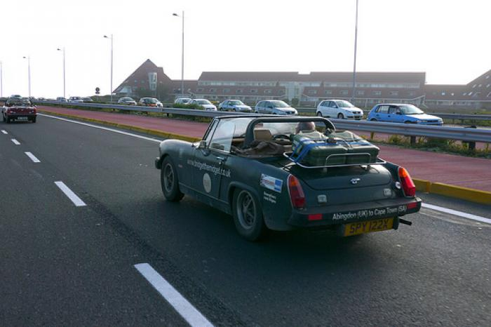 Not in that car - MG midget arriving in cape town