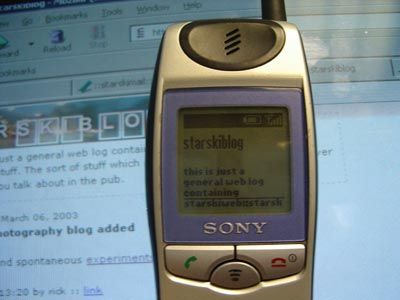 starskiweb is being displayed on MS mobile explorer on a Sony j5e phone