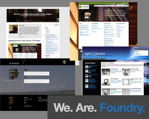 different stuff that Rick Hurst does - freelance web developer, olivewood, kudos, lightplanet, foundry