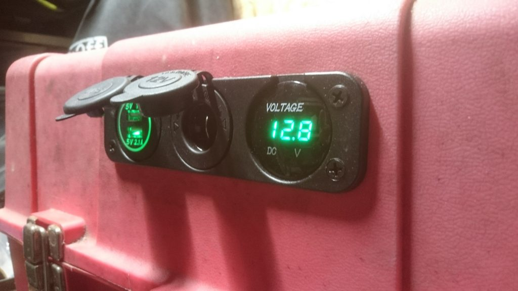 Leisure battery built into an old toolbox with USB sockets and voltmeter